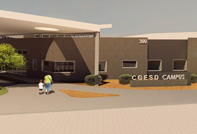 Rendering of new CGESD Campus Exterior in Casa Grande, Arizona
