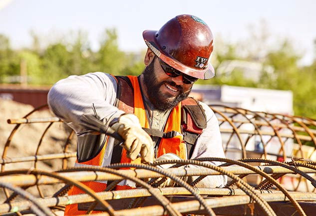 construction worker with rebar