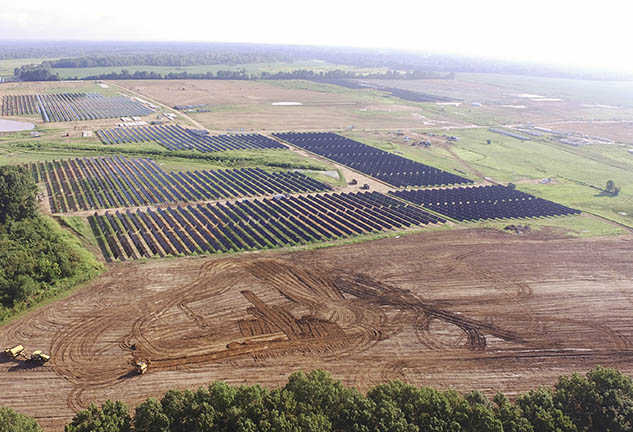 Construction of Millington Solar Farm, the largest solar energy project in Tennessee