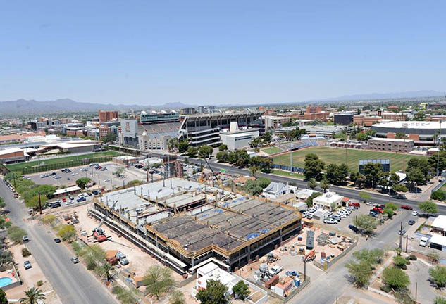 Aerial view of McCarthy's parking garage project at University of Arizona