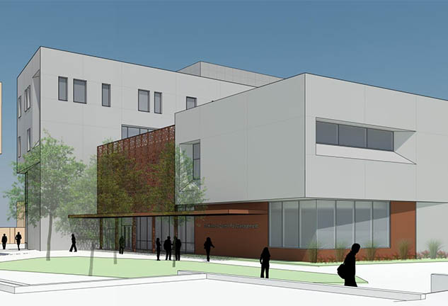 Rendering of exterior of New Anderson School of Management at UNM