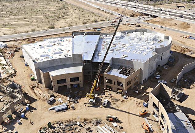 Aerial shot of topping out of OdySea Aquarium in Scottsdale
