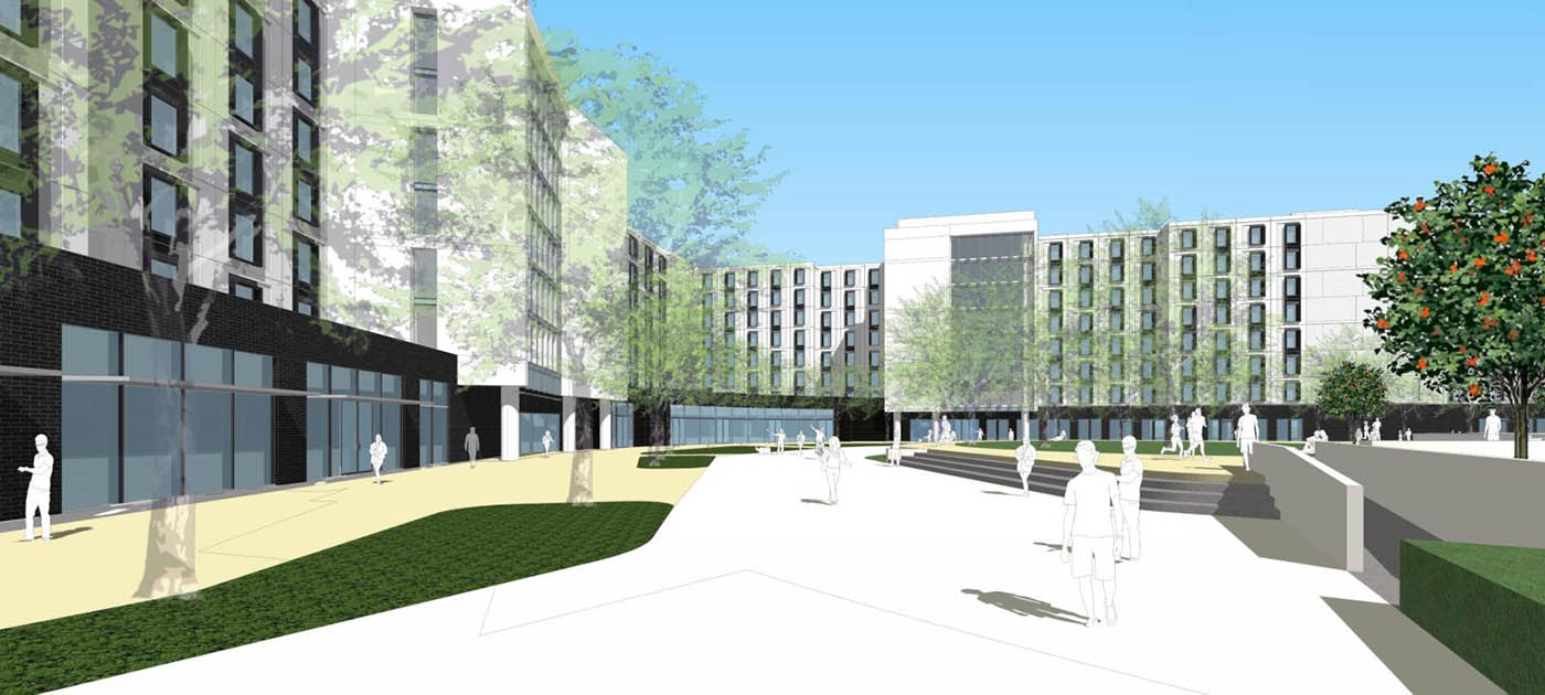 Rendering of new student housing at CSU Los Angeles