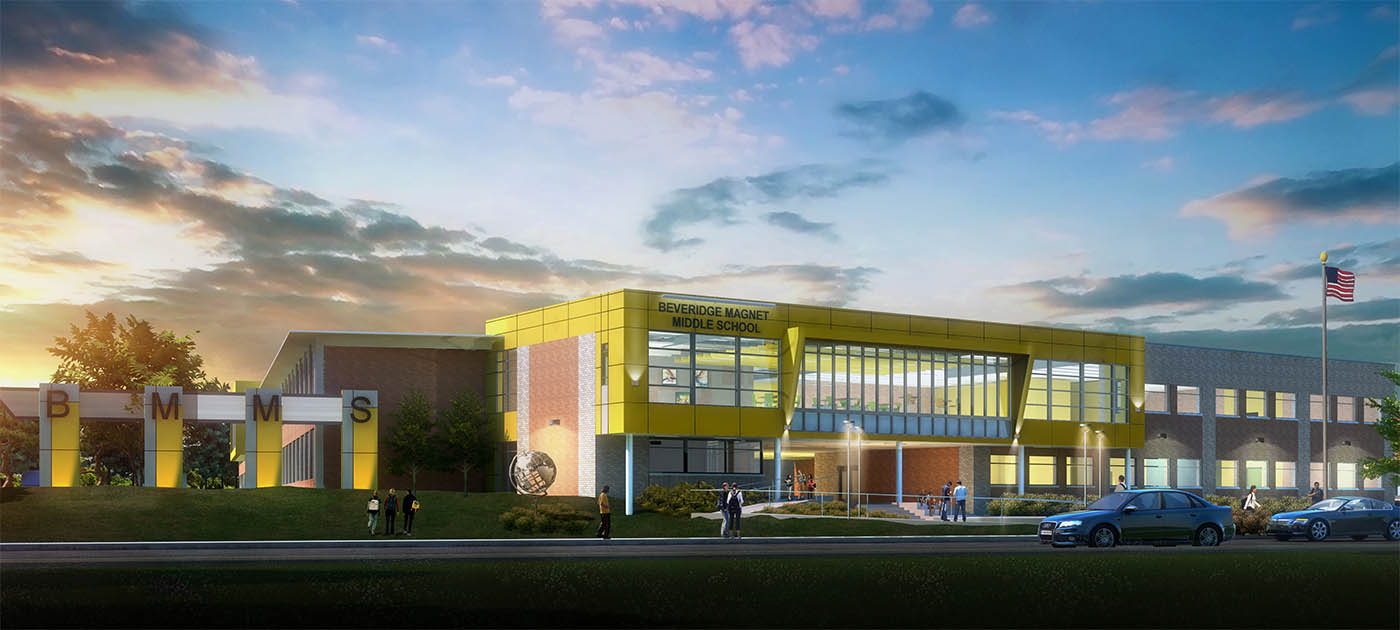 Rendering of Beveridge Magnet School in Omaha. NE.