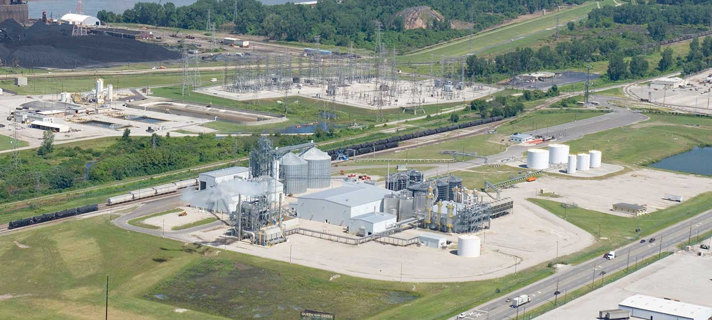 Aerial view of Center Ethanol Plant in St. Louis