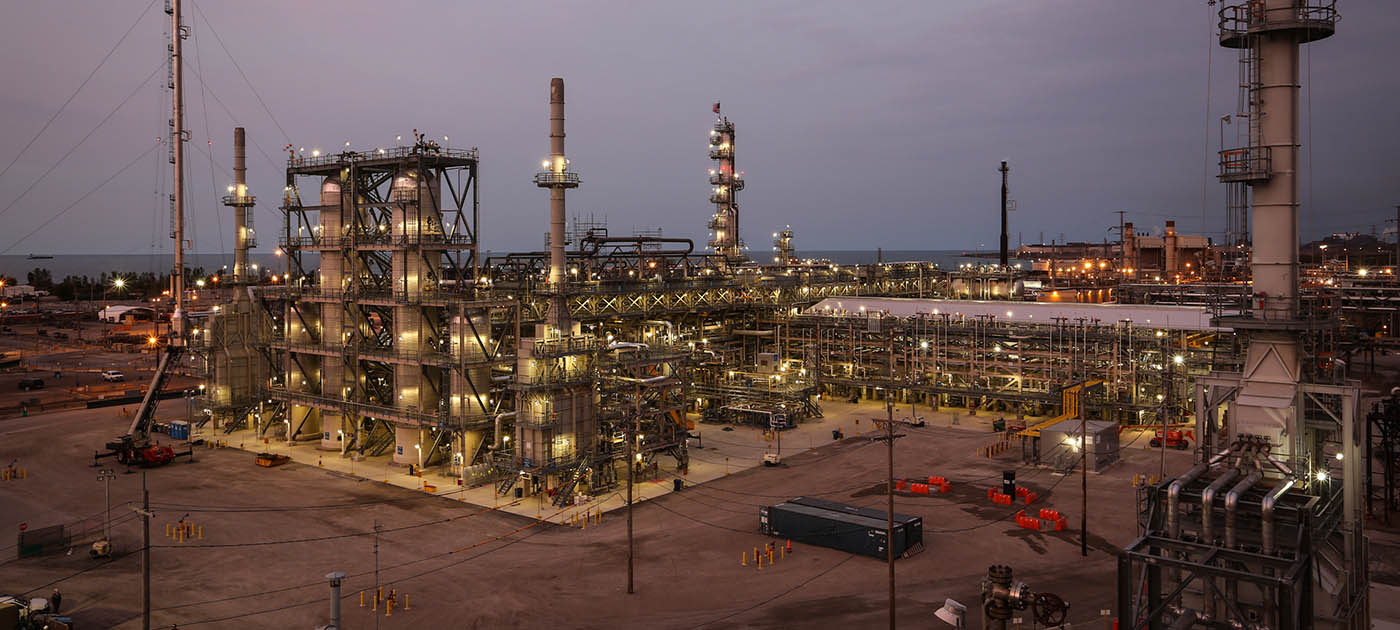 Evening Exterior View of BP Gas Oil Hydrotreater