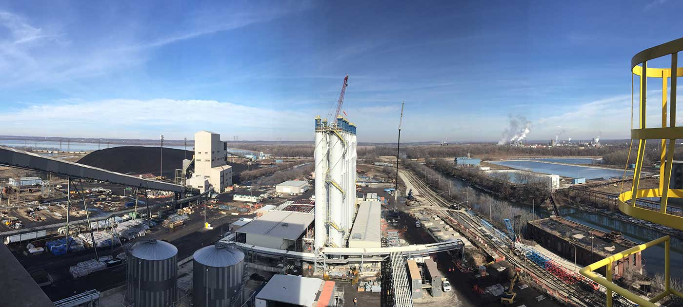 Aerial view of NRG Energy Powerton Units 5 & 6 on a sunny day