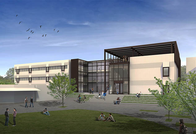 Rendering of exterior of new Math, Science & Tech building at Canada College
