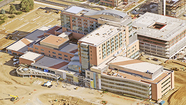 Aerial shot of Children's Hospital of Colorado project during construction