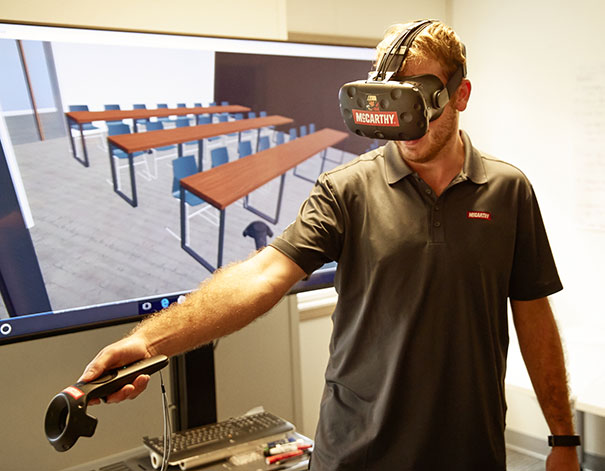 Man with goggles on - virtual reality