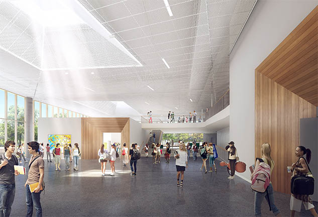 Interior rendering of New Plano ISD Fine Arts Center