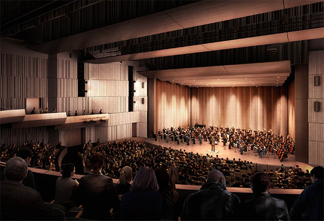 Rendering of auditorium in New Plano ISD Fine Arts Center
