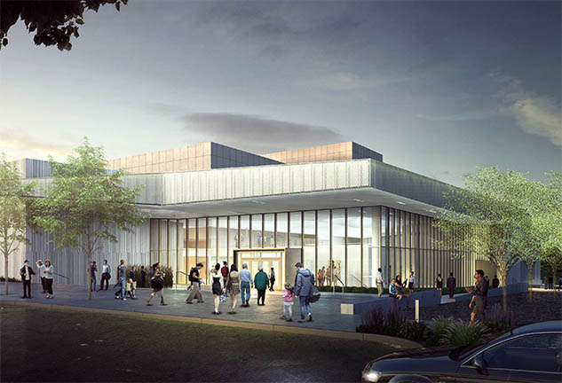 Rendering of Exterior of New Plano ISD Fine Arts Center in Dallas