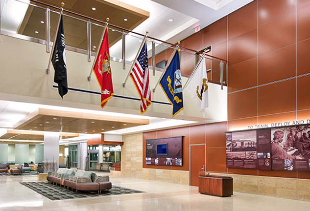 Foyer of Navel Hospital at Camp Pendleton with flags flying