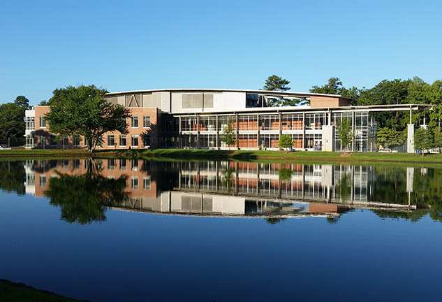 View of Clayton State University's New Science Building from across pond