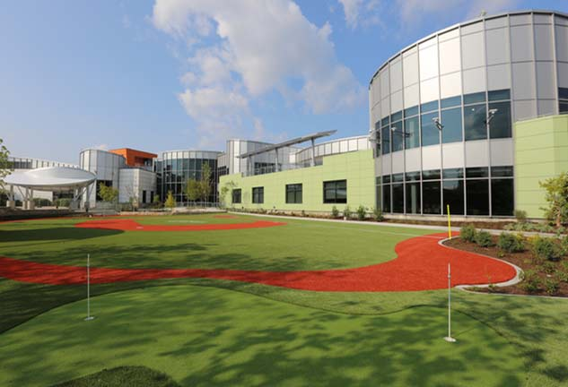 Ranken Jordan Pediatric Bridge Hospital exterior with ADA Compliant outdoor recreation area