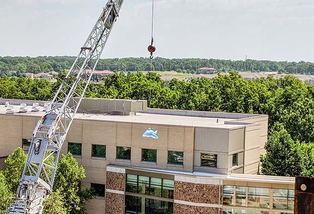 Blow Up Shark Hanging From Crane Outside Mercy Northwest Arkansas Pediatric Ward
