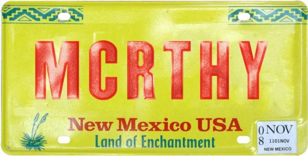 McCarthy license plate