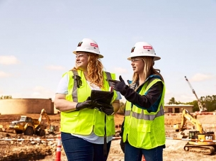 two women construction workers