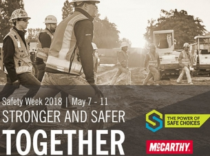 "Safety Week image with text ""stronger and safer together"""