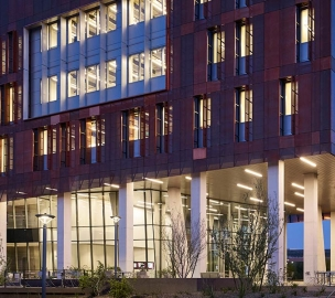 ASU Biodesign Institute C exterior at night