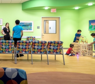 Kids Playing in Waiting Room at Texas Children's Hospital Specialty Care Clinic
