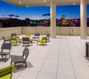 UNLV Hospitality Hall Patio at Night