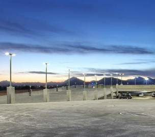 Lighting on Top Level of University of Arizona South Stadium Parking Structure