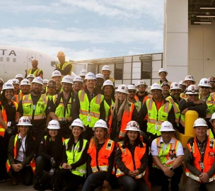 Group photo of construction workers at LAX
