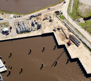 Aerial Shot of Sunoco Barge Docks