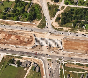 Aerial shot of State Highway 71 Express Lanes in Progress